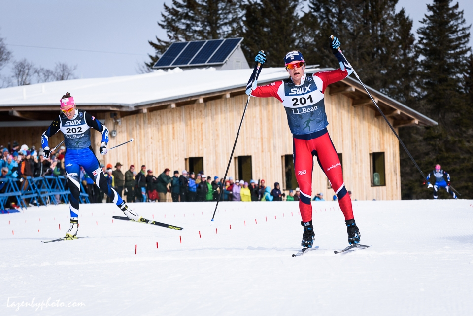 Jessie Diggins wins the 10-k freestyle, Super Tour finals 2018. Left, Sadie Bjornsen. In distance, Kikkan Randall (3rd)