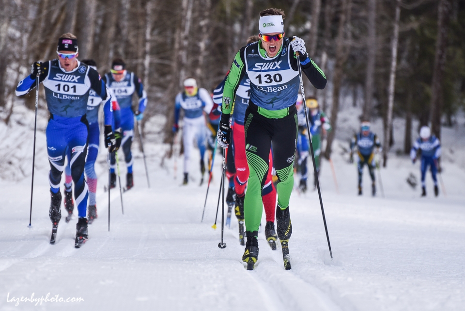 Adam MArtin Craftsbury Green Racing Project leads relay, Super Tour Finals 2018.