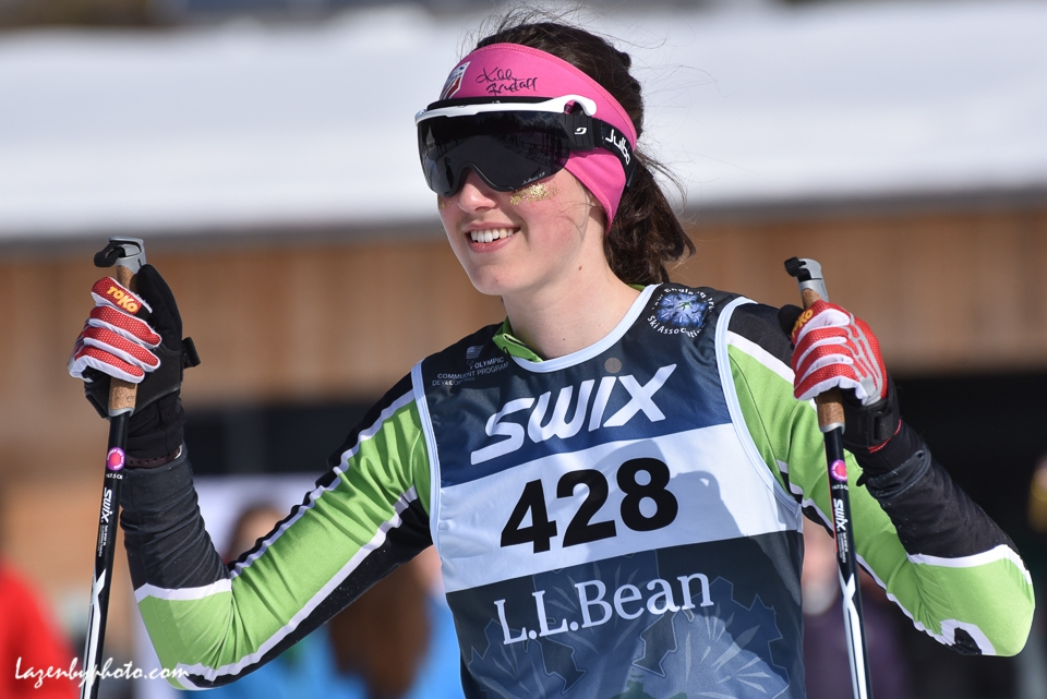 Marika Massey-Bierman, Crafstbury Ski Club, relay, ST 2018 finals. With headband autographed by Kikkan Randall.