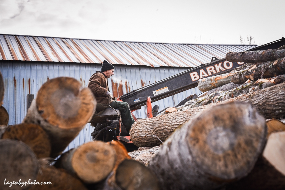 Roger Chaloux places logs onto the rack from which they are moved into the wood processor to be cut and split.