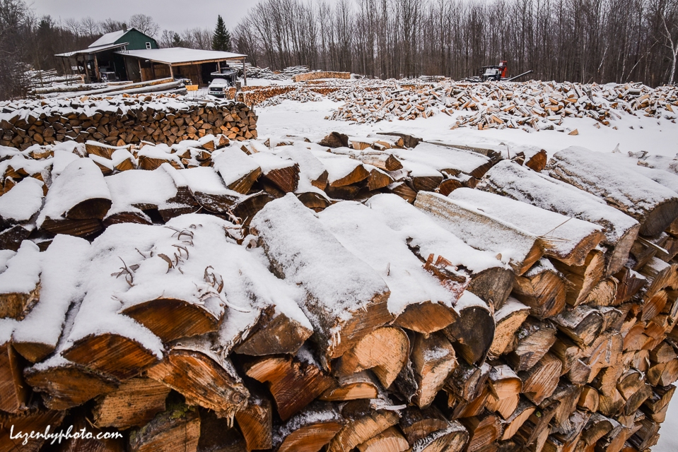 Winter in the wood yard, Chaloux Brothers Firewood, Williamstown, VT.