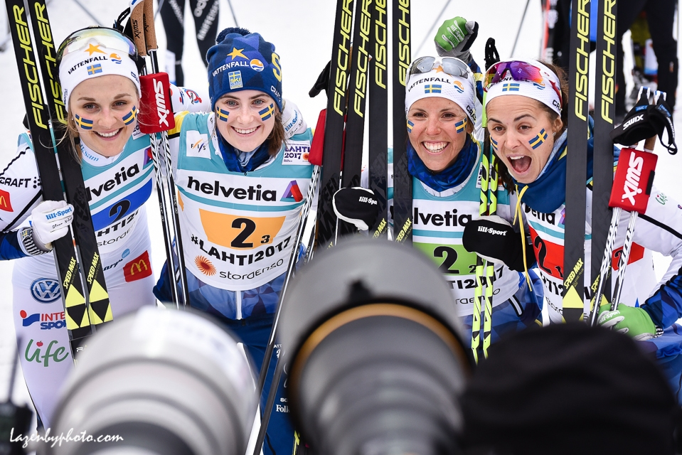 Sweden's Stina Nilsson, Ebba Andersson, Charlotte Kalla and Anna Haag faced the cameras after winning the silver medal in the women's relay at the 2017 Nordic World Championships in Lahti.