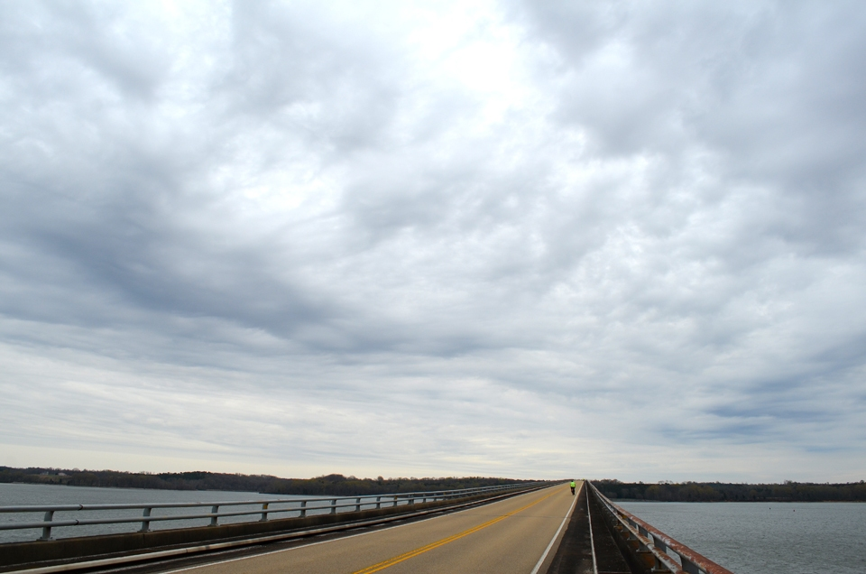 Crossing the John Coffee Memorial Bridge over the Tennessee River, Tennessee, bicycling the Natchez Trace Parkway.