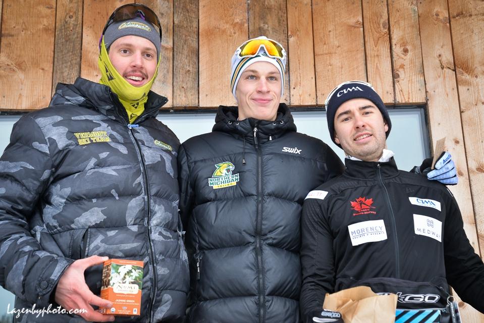 Men's sprint podium: L-R: Bill Harmeyer, UVM, 3rd; Daniel Streinz, Northern Michigan U, first; Antoine Briand, Centre Nordic Pierre Harvey (Quebec), 2nd.  sprint, NENSA Eastern Cup, COC.