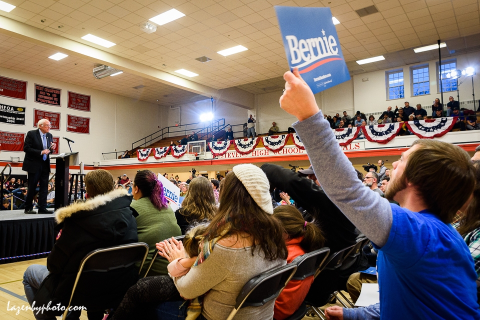 Audience members at Bernie Sanders campaign rally, Claremont, NH, 2020 New Hampshire Primary.