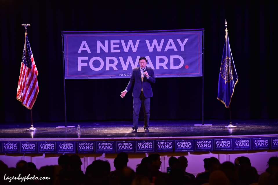 US Presidential candidate Andrew Yang campaigns at the Claremont, NH, Opera House during the 2020 New Hampshire Primary (2/9/2020).