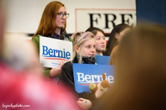 Bernie Sanders supporters, Sanders campaign rally, Claremont, NH, 2020 New Hampshire Primary.