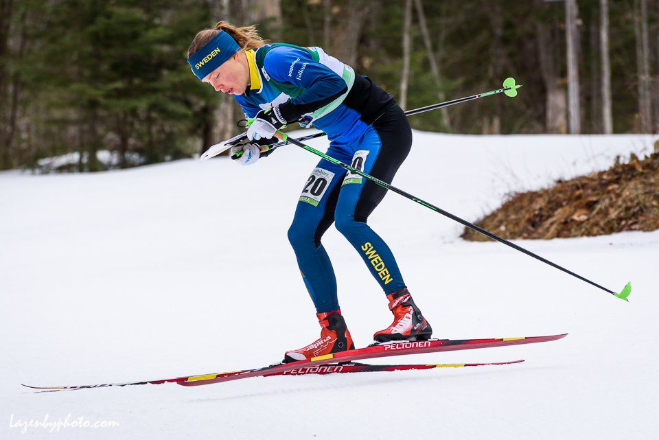 Eventual winner Sweden's Tove Alexandersson in the middle distance race at the International Orienteering Federation World Cup at Craftsbury Outdoor Center, Craftsbury, VT.
