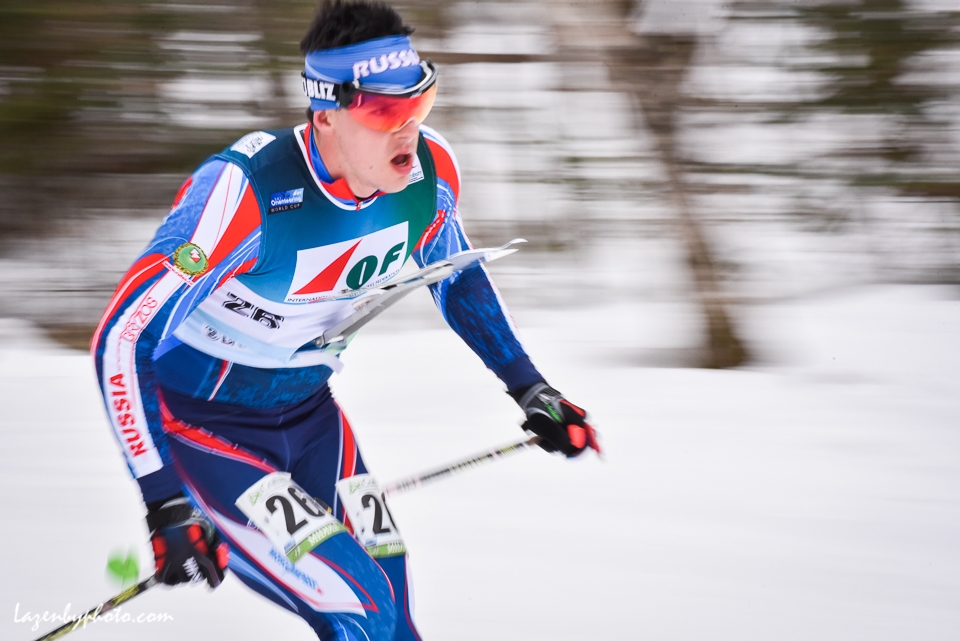 Stepan Malinovskii, Russia, in the middle distance race at the International Orienteereing Federaation World Cup, Craftsbury Outdoor Center.