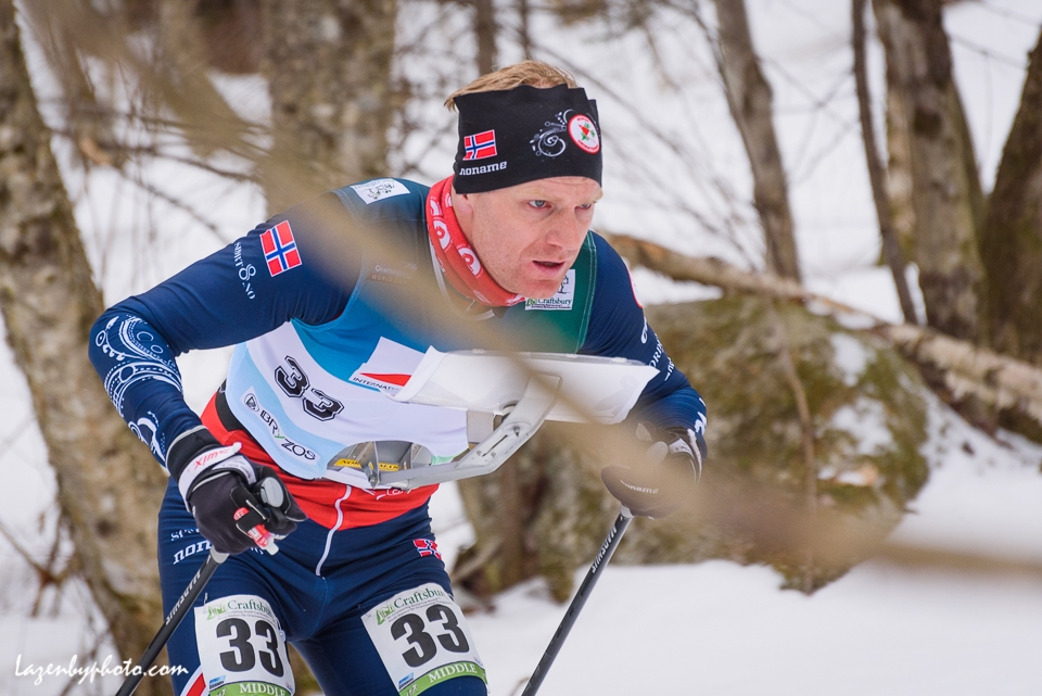 Norway's Oeyvind Watterdal in the middle distance race at the International Orienteereing Federaation World Cup, Craftsbury Outdoor Center.
