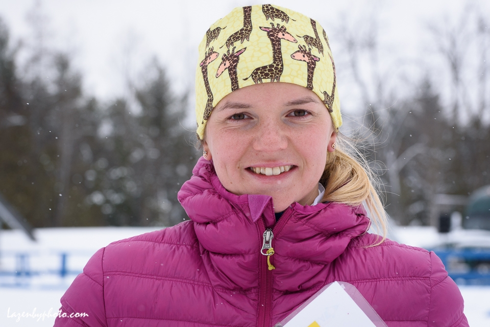 The eventual silver medalist Russian Tatyana Oborina after the mixed relay  at the International Orienteering Federation World Cup at Craftsbury Outdoor Center, Craftsbury, VT. She teamed with Eduard Khrennikov . She said the giraffe headband is fun and, besides, it allows her mother to find her quickly when watching a televised ski race.