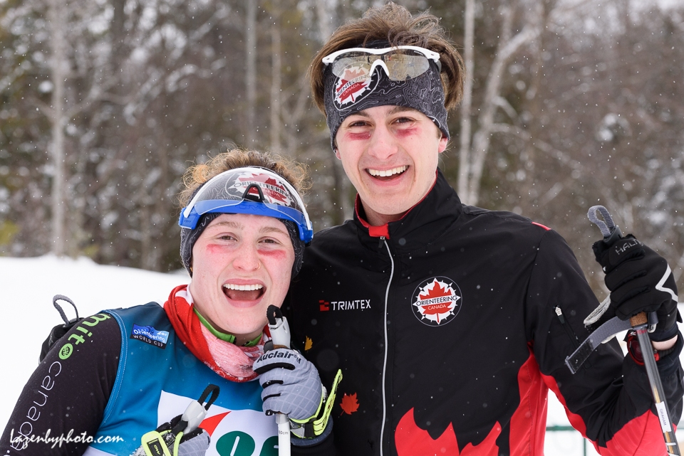 Canada's Milla Tarnopolsky and Robert Graham after coming in ahead of the US team in the mixed relay at the International Orienteering Federation World Cup at Craftsbury Outdoor Center, Craftsbury, VT. The were 18th.