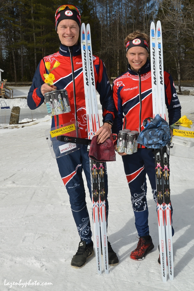 International Orienteering Federation World Cup Sprint,  Craftsbury Outdoor Center, Craftsbury, VT. L to R: Jorgen Madslien (NOR), 3rd, Auden Heimdal (NOR), 2nd,.