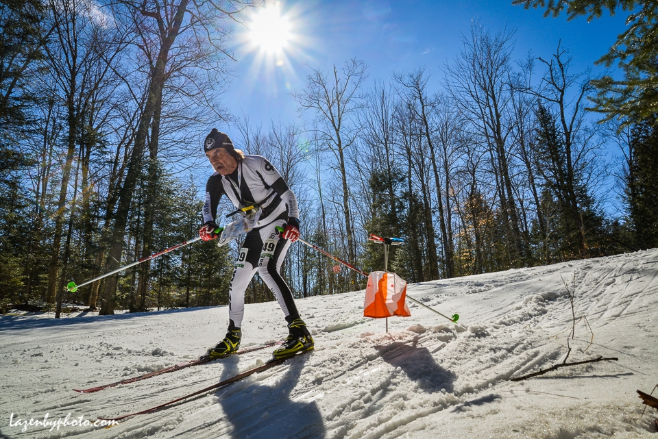 Masters competitor, in the World masters ski orienteering championships,  Craftsbury Outdoor Center, VT.