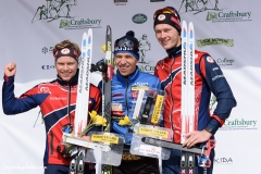 International Orienteering Federation World Cup Sprint podium,  Craftsbury Outdoor Center, Craftsbury, VT. L to R: Audun Heimdal (NOR), 2nd; Andrey Lamov (RUS), 1st; Jorgen Madslien (NOR), 3rd.