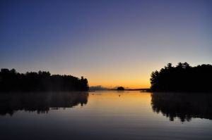Sunrise, Millinocket Lake, below Mount Katahdin, Maine.